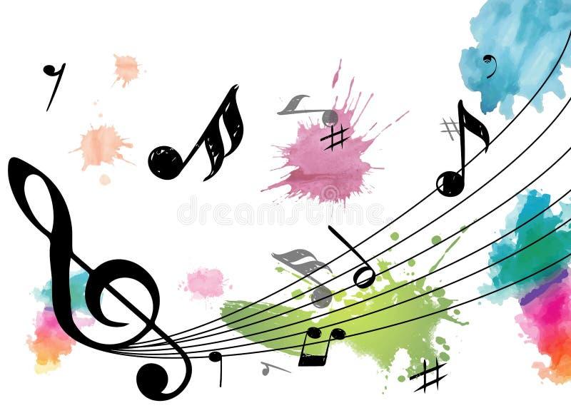Notas de la música con colores stock de ilustración