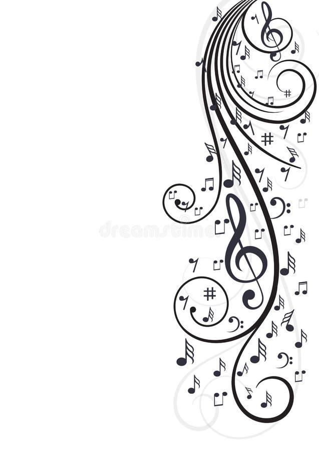 Notas de la música con las ondas en blanco stock de ilustración