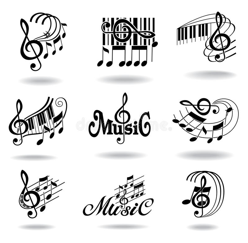 Notas de la música. Conjunto de elementos o de iconos del diseño de la música ilustración del vector