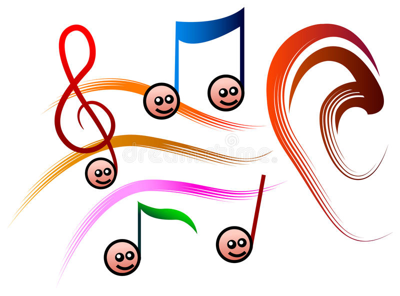 Notas de la música del oído ilustración del vector
