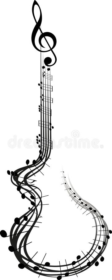 Notas de la música de la guitarra stock de ilustración