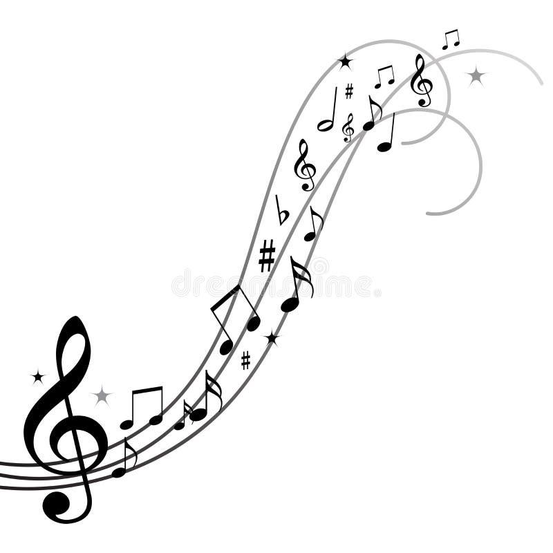 Notas de la música, notas musicales con las estrellas ilustración del vector