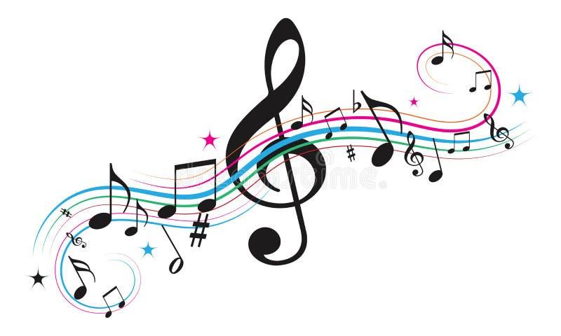 Notas de la música, notas musicales con las estrellas stock de ilustración