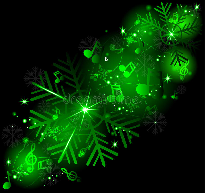 Notas de la música que brillan intensamente con los copos de nieve del invierno libre illustration