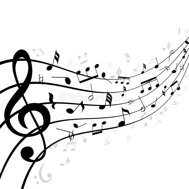 Notas de la música sobre un bastón o un personal ilustración del vector