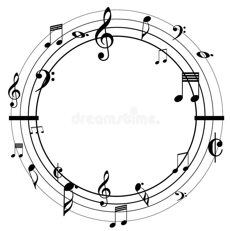 Notas de la música sobre un diseño redondo libre illustration