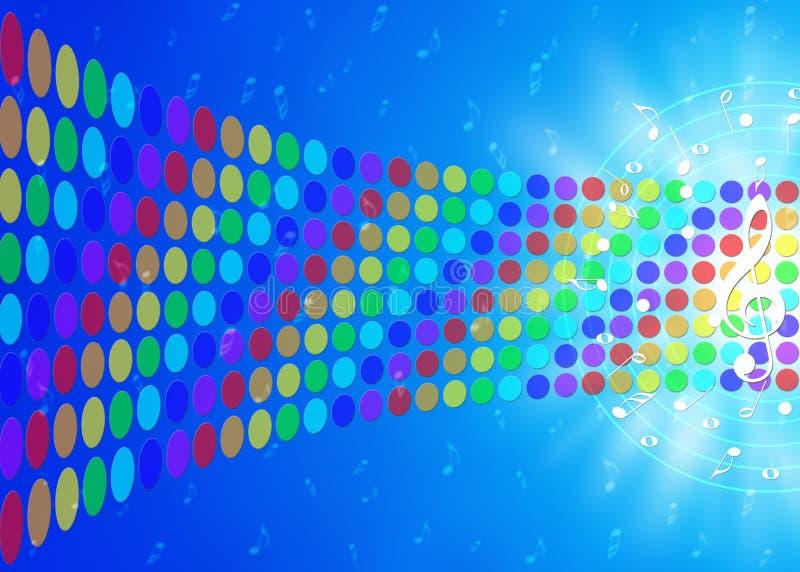 Notas de la música y puntos coloridos del arco iris en fondo azul borroso ilustración del vector