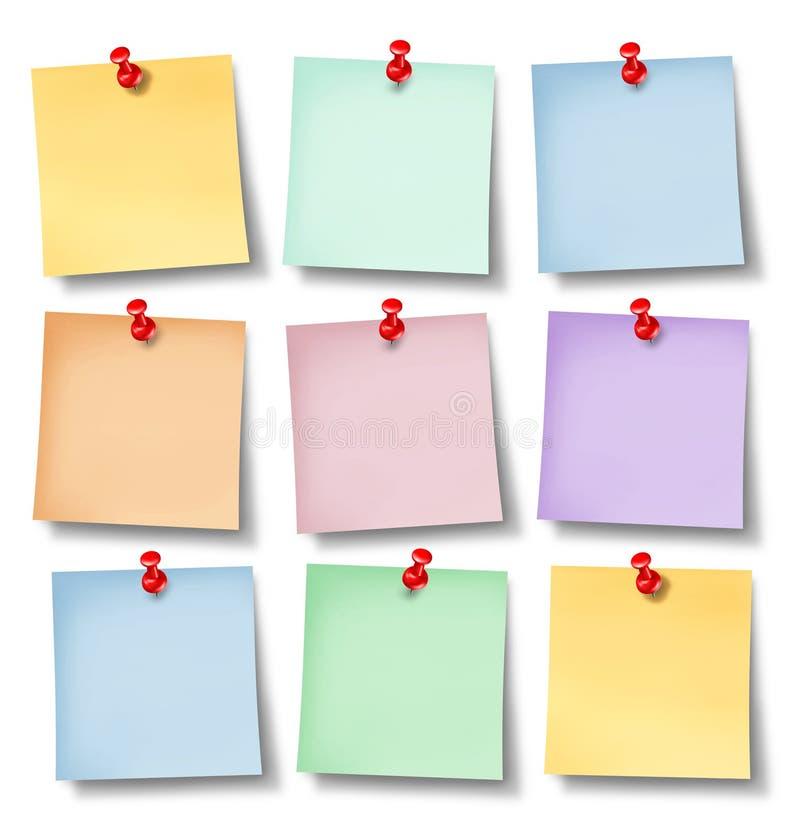 Notas de la oficina del recordatorio ilustración del vector