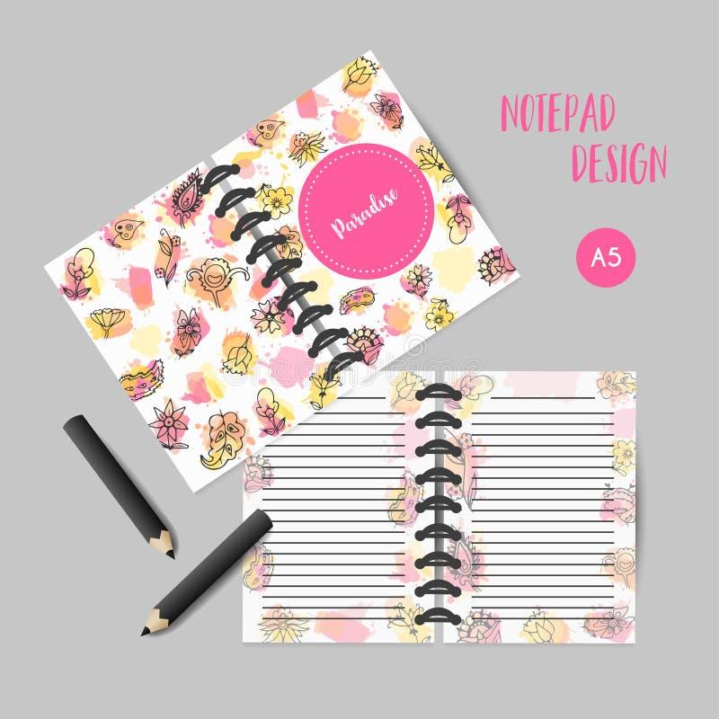 Notas de los withflowers del diseño del organizador para las muchachas con los elementos florales coloridos Printagles Vecto de l stock de ilustración