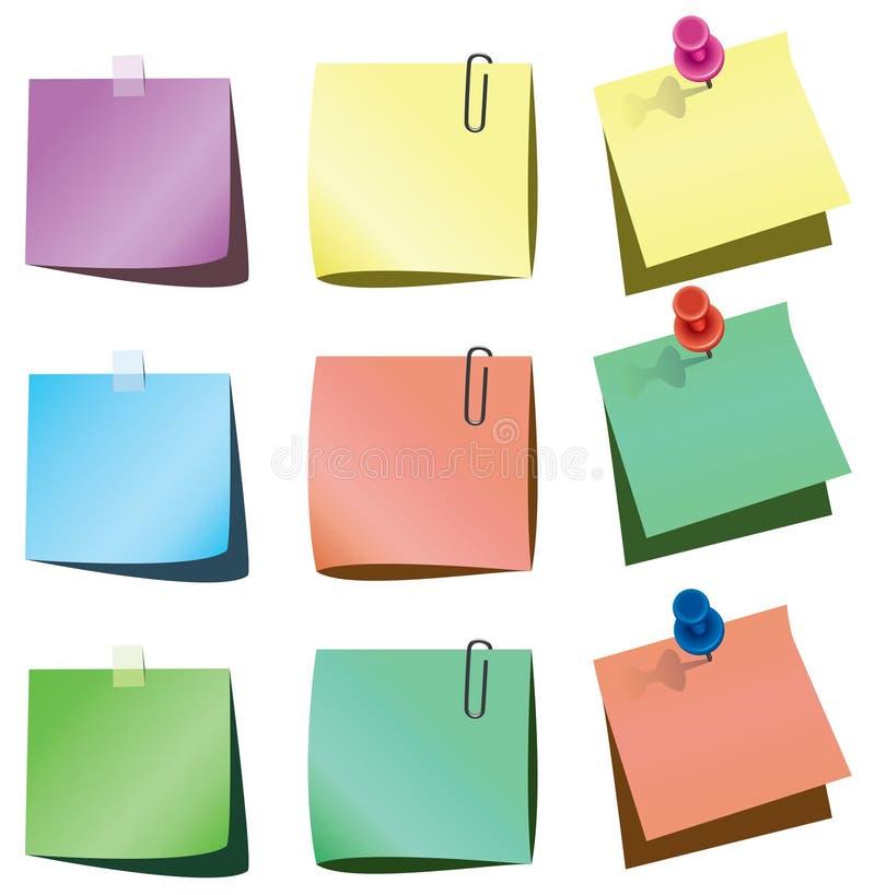 Notas de papel ilustração stock