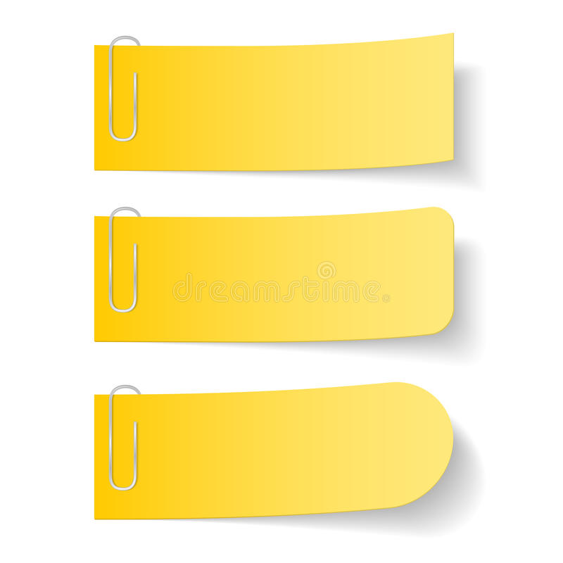 Notas de papel amarelas com grampos ilustração royalty free