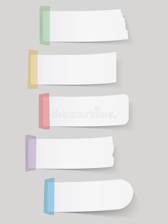 Notas de papel con la cinta stock de ilustración