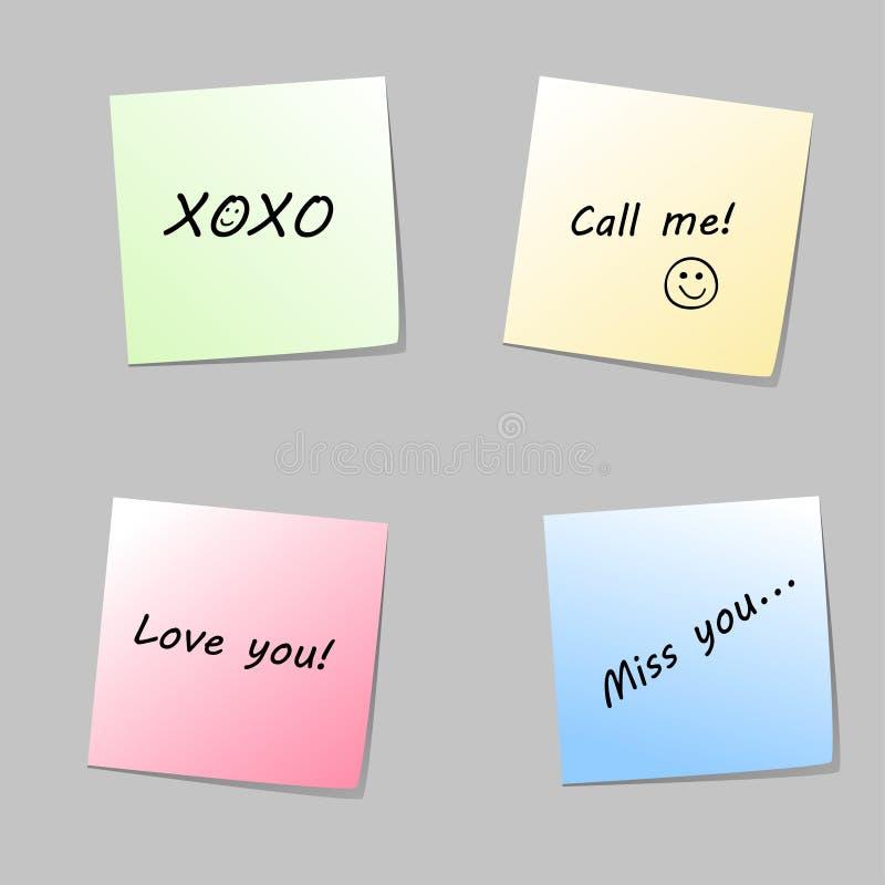 Notas de papel do amor ilustração stock