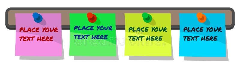 Notas de papel fixadas, nota de post-it das etiquetas na placa da cortiça, azul, rosa, amarelo e verde com texto da amostra com p ilustração royalty free
