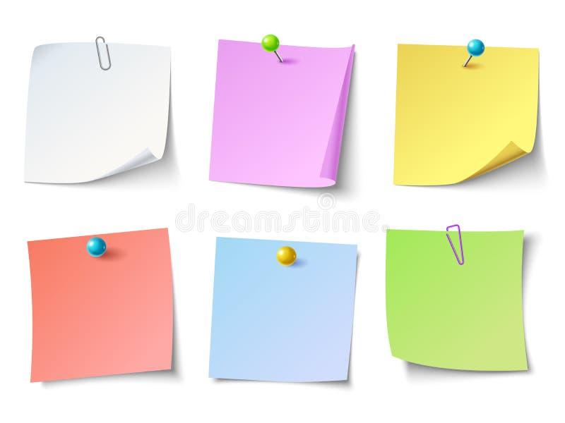 Notas de papel Grupo do vetor da etiqueta da nota da vista superior ilustração royalty free