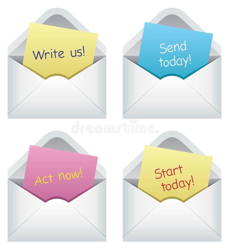 Notas de papel nos envelopes ilustração stock