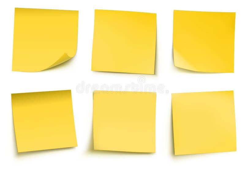 Notas de post-it amarelas ilustração royalty free