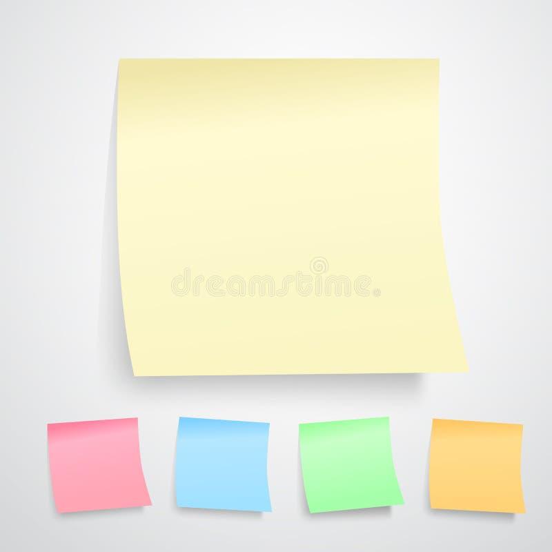 Notas de post-it amarelas ilustração stock