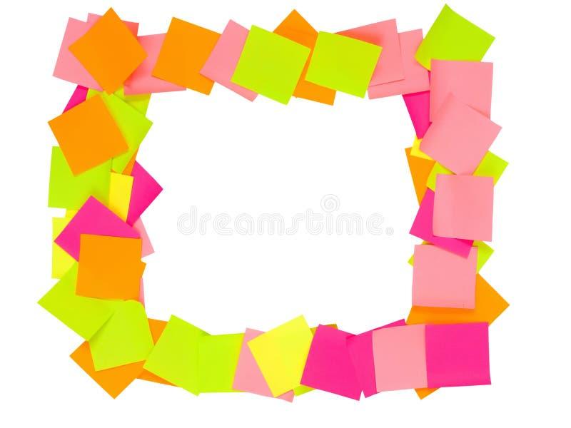 Notas de post-it dispuestas como marco imagen de archivo