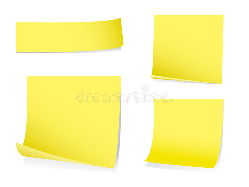 Notas de post-it pegajosas ilustração do vetor