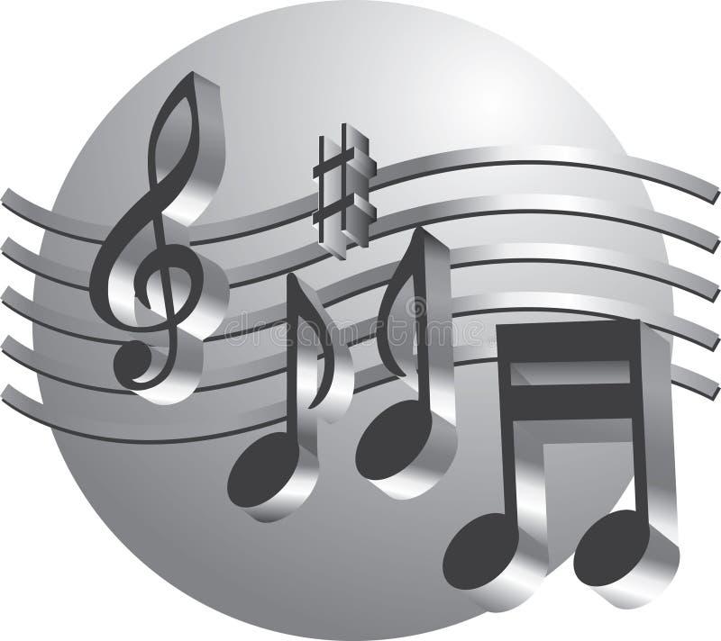 Notas de prata da música ilustração royalty free