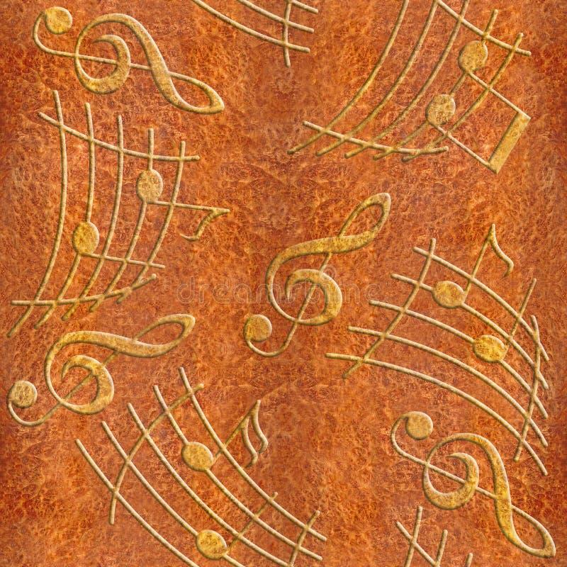 Notas decorativas abstratas da música - textura Carpathian da madeira do olmo ilustração do vetor