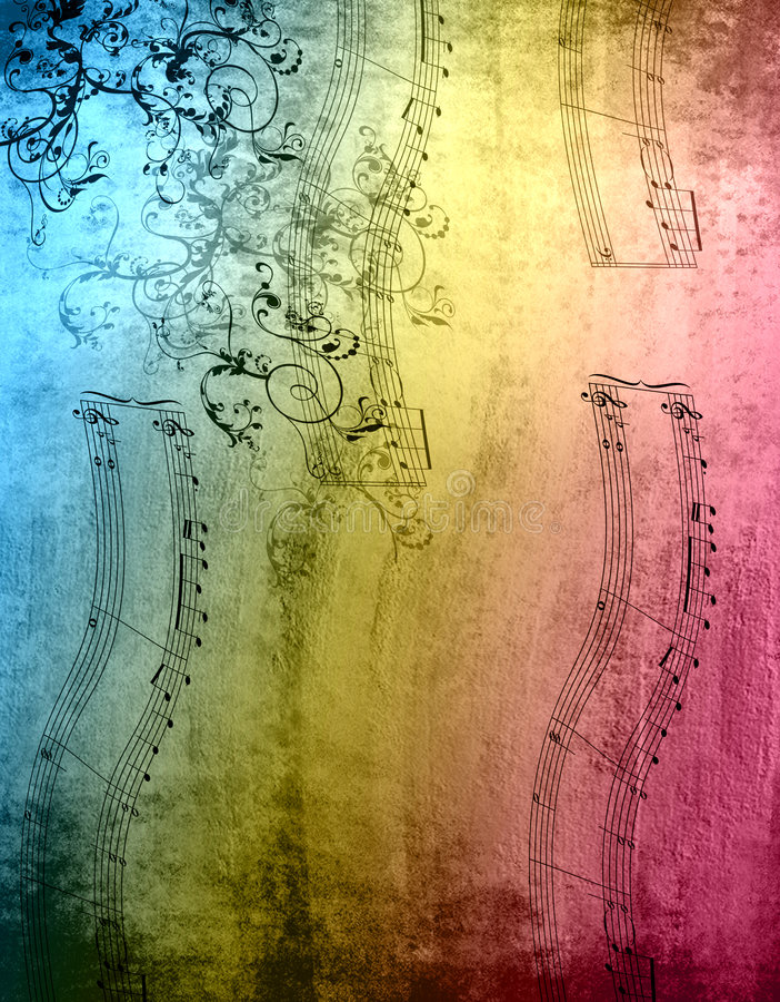 Notas decorativas da música ilustração do vetor