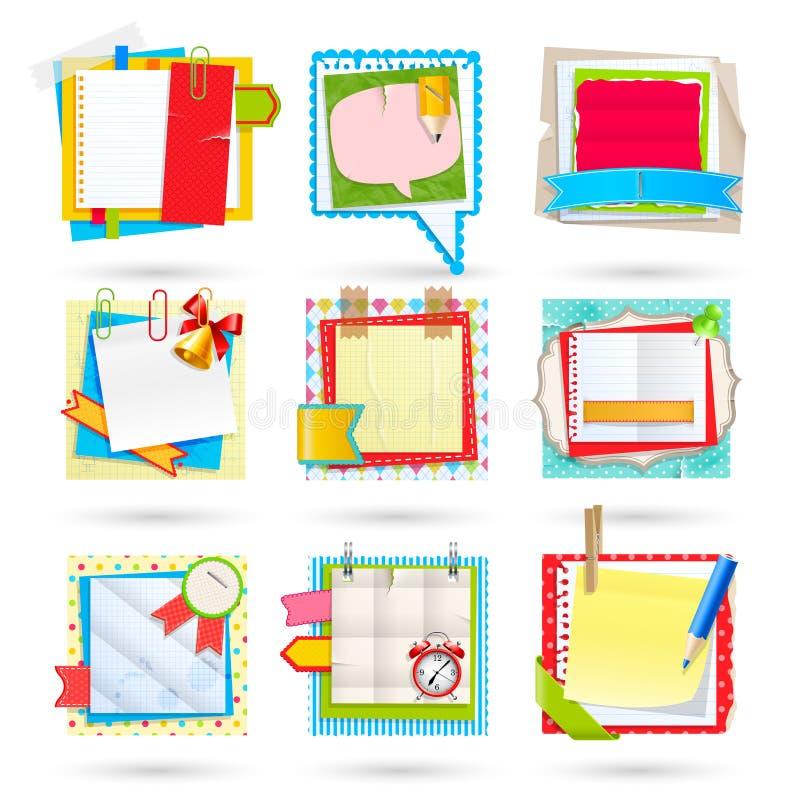 Notas del papel de escuela stock de ilustración