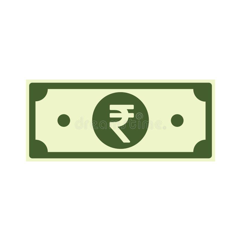 Notas del papel de rupia india aisladas en el fondo blanco Icono de la INR, imitación de la historieta Dinero de la India plano libre illustration