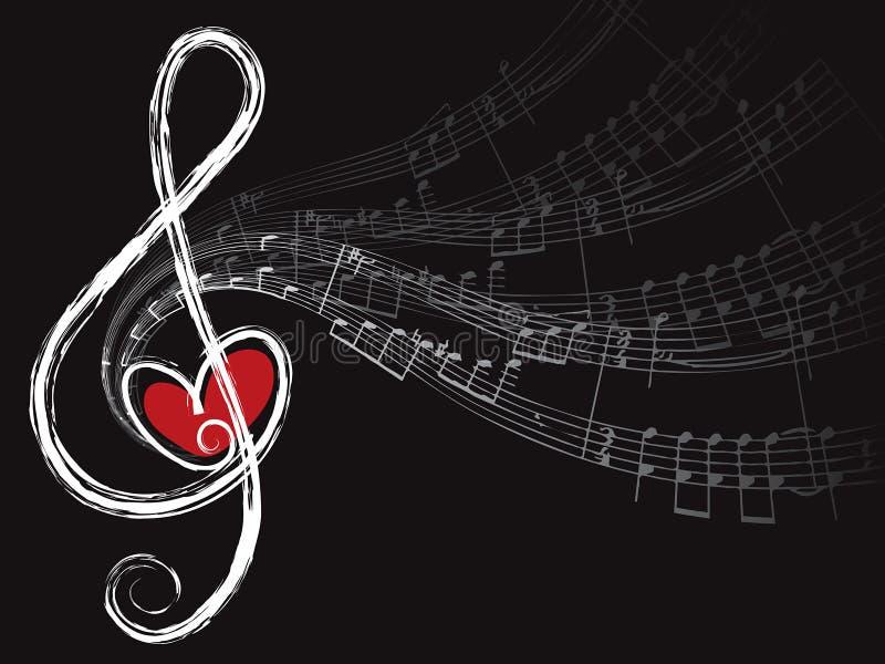 Notas do amor e da música do triplo ilustração do vetor