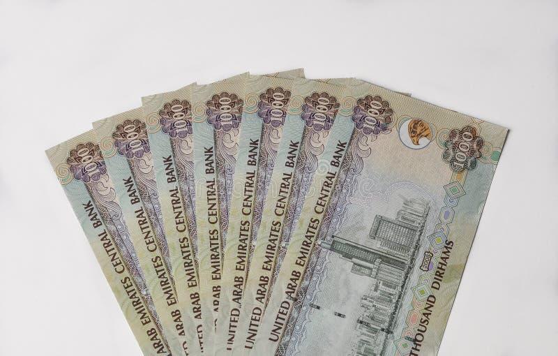 Notas do dirham dos UAE imagem de stock