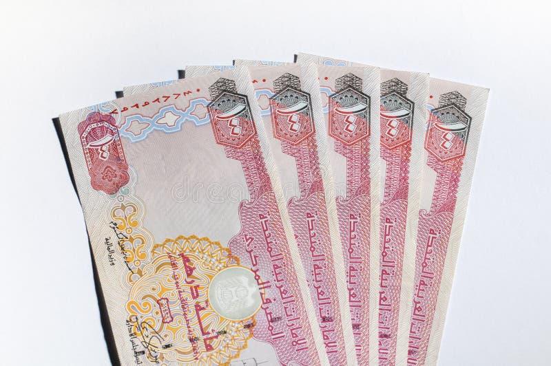 Notas do dirham dos UAE foto de stock