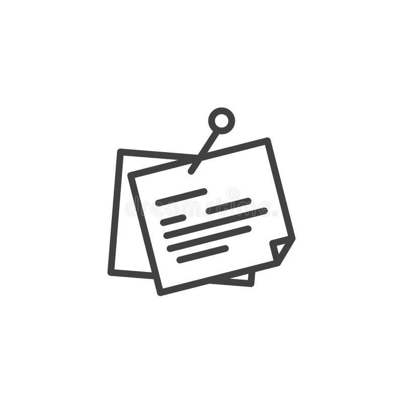 Notas do lembrete com ícone do esboço do pino ilustração do vetor