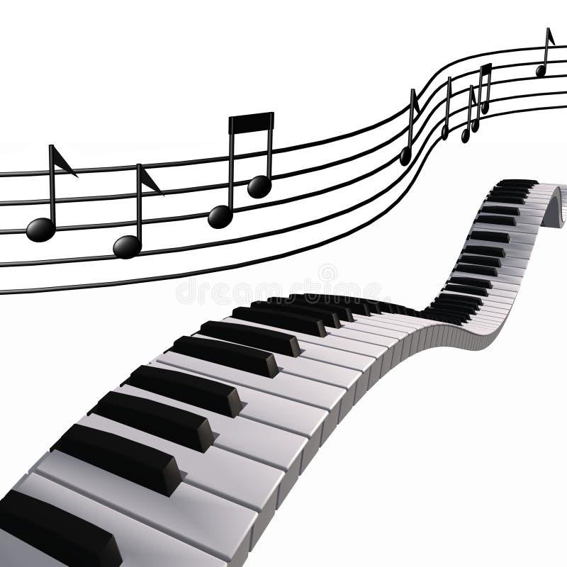Notas do piano da música no céu ilustração royalty free
