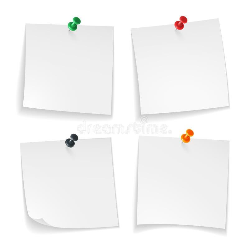 Notas do Pin Os papéis de nota brancos ondularam o canto com a mensagem colorida fixada do anúncio da placa do escritório da tecl ilustração royalty free
