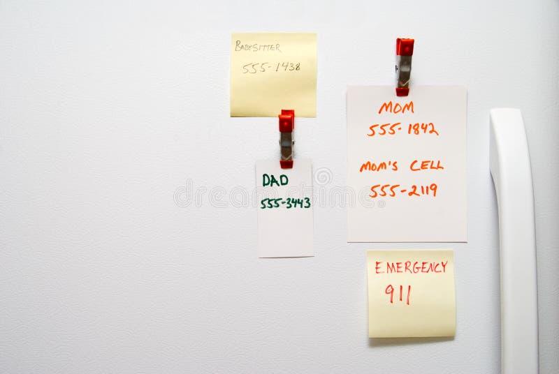 Notas do refrigerador imagens de stock