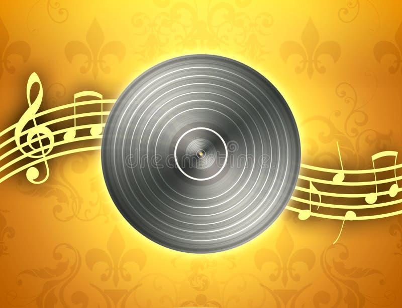 Notas do registro e da música de vinil ilustração do vetor