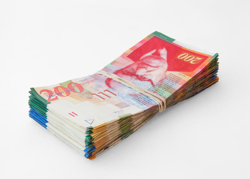 200 notas do shekel imagem de stock