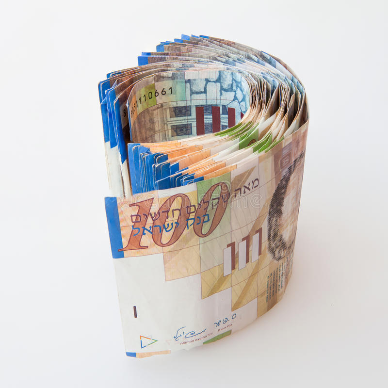 100 notas do shekel imagens de stock royalty free