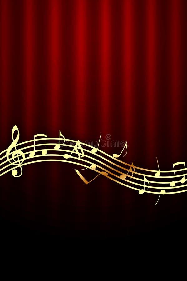 Notas douradas da música no fundo vermelho ilustração stock
