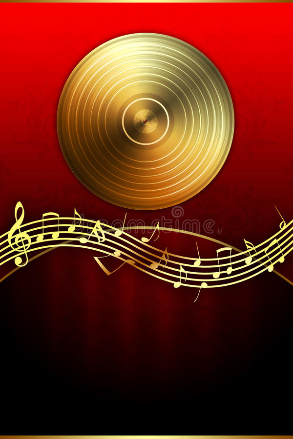 Notas douradas do disco e da música ilustração do vetor