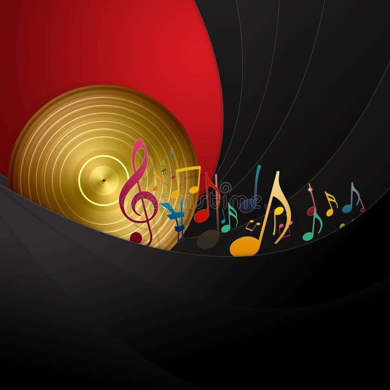 Notas douradas do disco e da música ilustração royalty free
