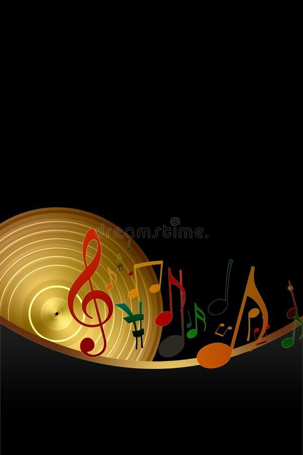 Notas douradas do registro e da música de vinil ilustração royalty free