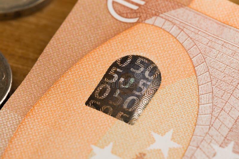 50 notas euro e imagen de las monedas fotos de archivo libres de regalías