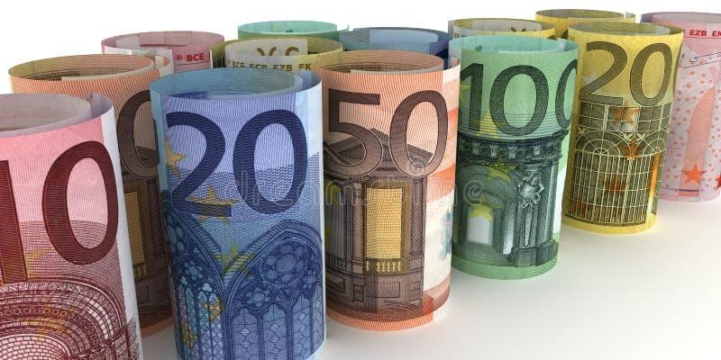 Notas euro Rolls stock de ilustración