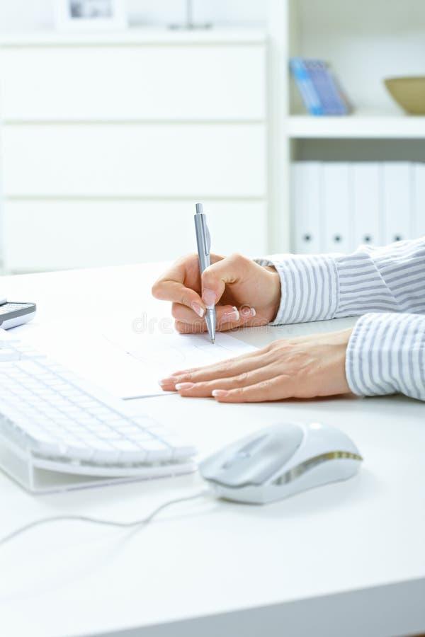 Notas fêmeas da escrita da mão imagens de stock