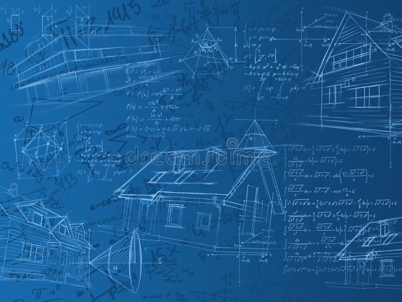 Notas, fórmulas y bosquejos azules del cálculo ilustración del vector