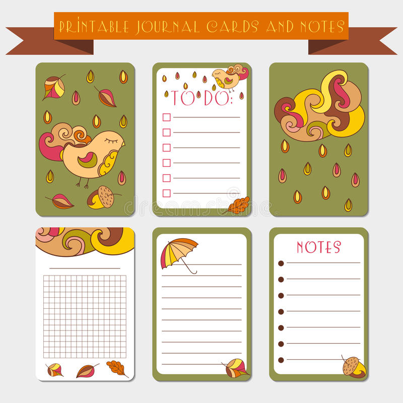 Notas imprimibles, tarjetas del diario con los ejemplos del autmun Plantilla para la reservación del pedazo, envolviendo, libreta ilustración del vector