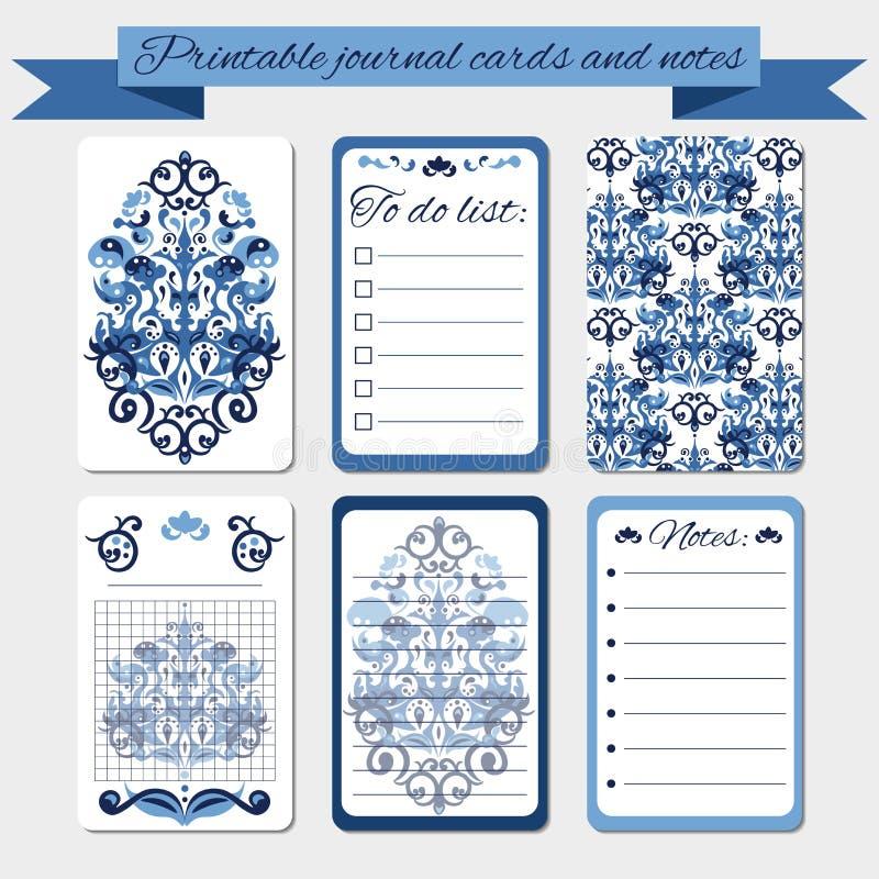 Notas imprimibles, tarjetas del diario, etiquetas, con los ornamentos azules del damasco libre illustration