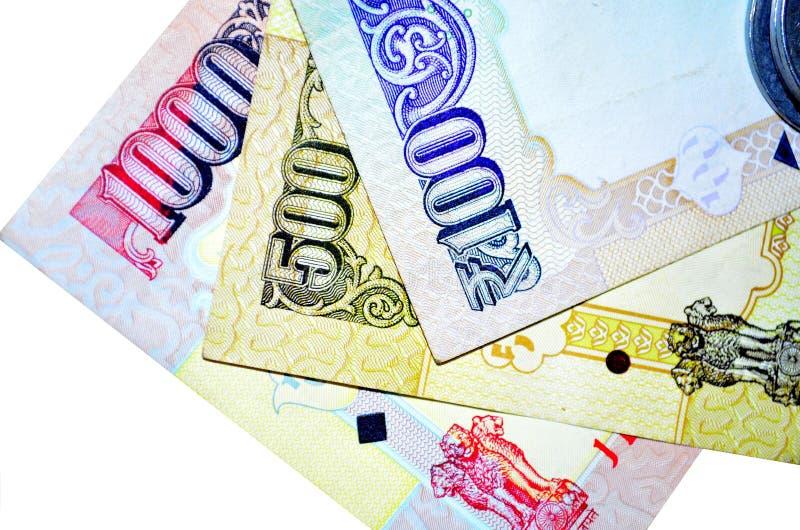Notas indianas da moeda da denominação 100.500 e 1000 foto de stock royalty free